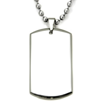 Engravable Stainless Steel Dog Tag Pendant w/ Bead Chain