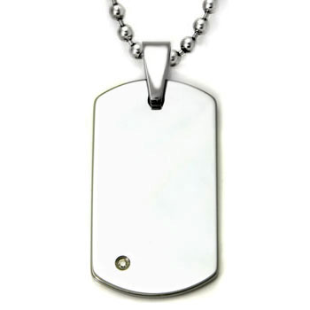 Tungsten carbide diamond dog tag pendant w bead chain loading zoom aloadofball