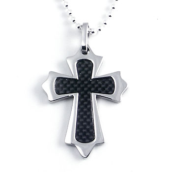 Stainless Steel Carbon Fiber Eastern Cross Pendant w/ Bead Chain