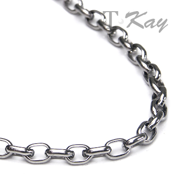 Titanium 4MM Oval Rolo Men's Necklace Chain