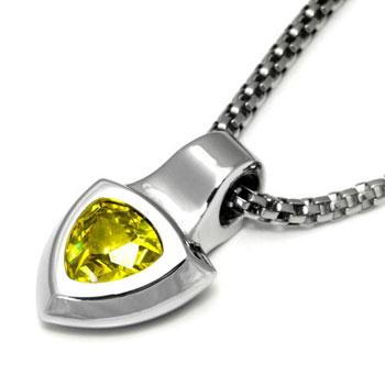 LAMBORGHINI Stainless Steel Pendant w/ Yellow Crystals