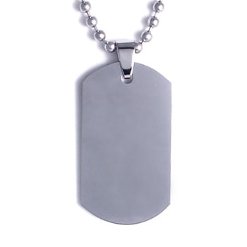 Tungsten engravable dog tag pendant w bead chain loading zoom aloadofball Choice Image