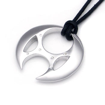 Sterling Silver Gothic Diamond Pendant w/ Leather Cord :  necklace design designer jewelry