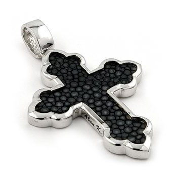 Sterling Silver Hematite Organic Stingray Leather Eastern Cross Pendant