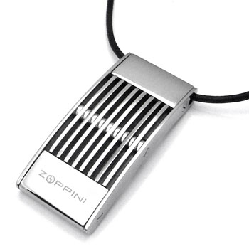 Zoppini Stainless Steel Pendant w/ Leather Cord :  necklace jewellery pendant stainless steel