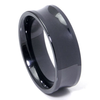 Black Ceramic Concave Men's Wedding Band Ring
