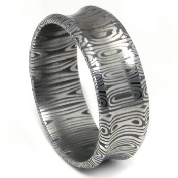 Damascus Steel Dome Concave Wedding Band Ring