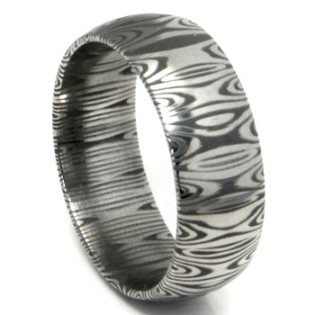 Damascus Steel Dome Wedding Band Ring