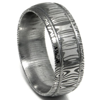 Damascus Steel Dome Wedding Band Ring w/ Two Grooves