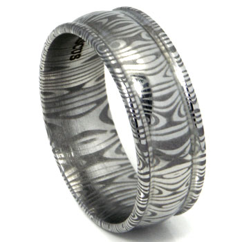 Damascus Steel Dome Wedding Band Ring w/ Ribbed Edges