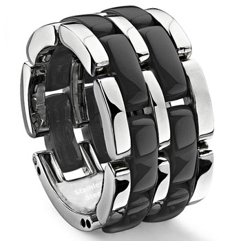 Double Row Black Diamond Ceramic Unisex Wedding Ring