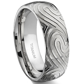 7 Degree OCEAN SWIRLS Titanium Band Ring