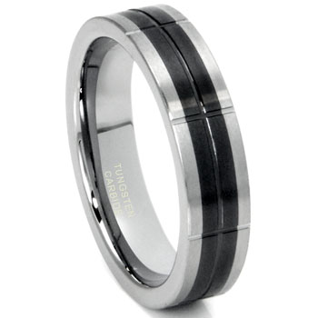 Tungsten Carbide Two Tone Grooved Wedding Band Ring,forge,seranite