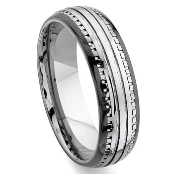 2nd Generation Tungsten Carbide Two Tone Dome Milgrain Wedding Band Ring,forge,seranite