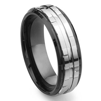2nd Generation Tungsten Carbide Two Tone Wedding Band Ring,forge,seranite