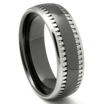 2nd Generation Tungsten Carbide Two Tone Milgrain Dome Wedding Band Ring,forge,seranite