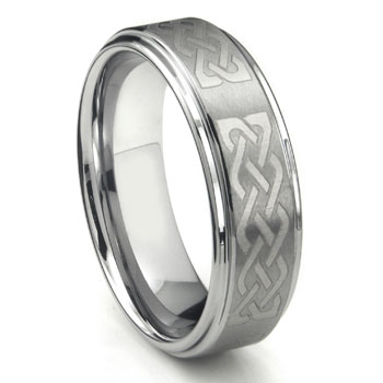 Tungsten Carbide Ring w/ Laser Etched Celtic Knot Design 8mm