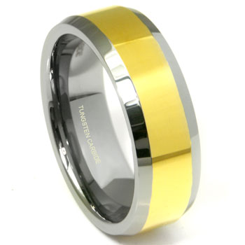 Flat Top Gold Tungsten Carbide Wedding Band Ring