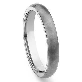 Tungsten Carbide 4mm Brushed Dome Wedding Band Ring