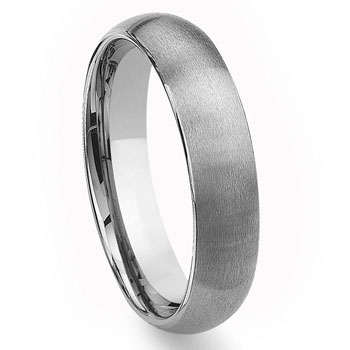 Tungsten Carbide 6mm Brushed Dome Wedding Band Ring