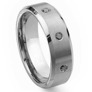 Tungsten Carbide Black Diamond Wedding Band Ring 8mm