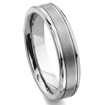 Tungsten Carbide 6MM Grooved Wedding Band Ring