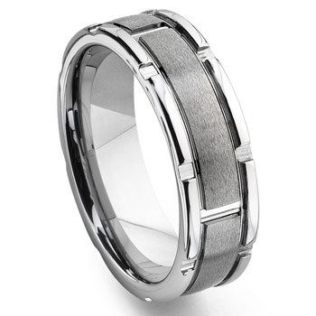 Tungsten Grooved Wedding Band Ring