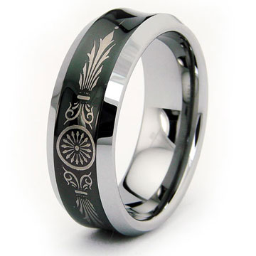 Art Deco Black Concave Tungsten Wedding Band Ring