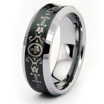 Art Deco 2 Black Concave Tungsten Carbide Wedding Band Ring