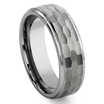 Tungsten Carbide Hammer Finish  Wedding Band Ring