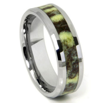 Tungsten Green Riverstone Inlay Wedding Band Ring