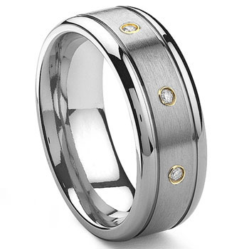 Tungsten Carbide 14K Gold Diamond Wedding Band Ring