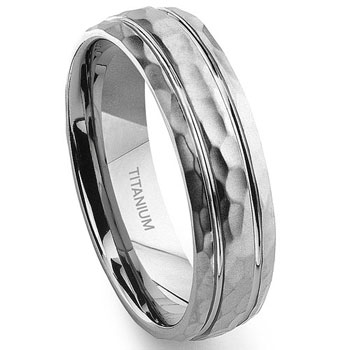 Titanium Hammer Finish Double Groove Wedding Band Ring