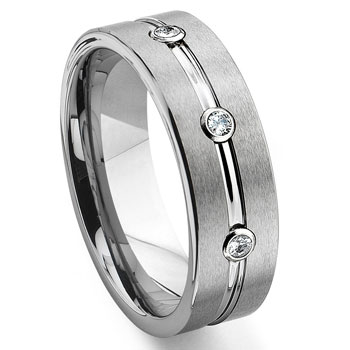 Tungsten Diamond Ribbed Wedding Band Ring