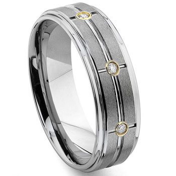 Tungsten Carbide Matrix Gold Diamond Wedding Band Ring