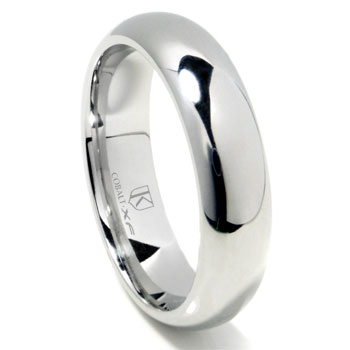 Cobalt XF Chrome 6MM Plain High Polish Dome Wedding Band Ring