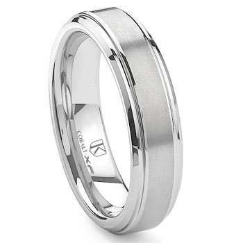Cobalt XF Chrome 6MM Raised Center Wedding Band Ring,Benchmark,Scott,SK