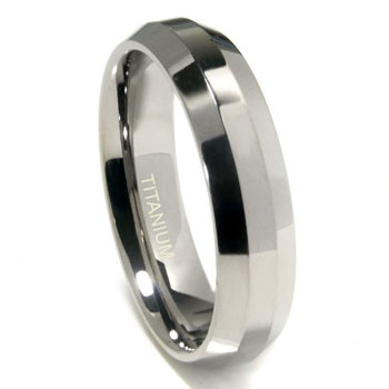 Titanium 6mm Beveled Wedding Band Ring