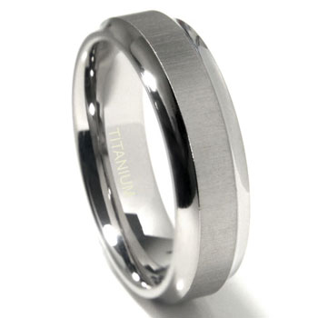 Titanium 7mm Satin Finish Concave Edge Wedding Band Ring