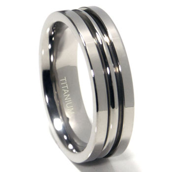 Titanium 7mm High Polish Ribbed Wedding Band Ring