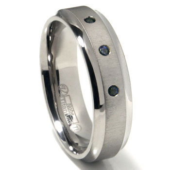 Titanium 7mm Swarovski Crystal Wedding Band Ring