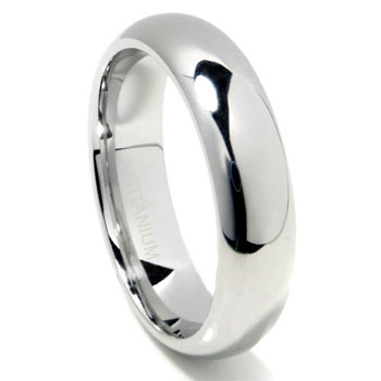 Titanium 6mm High Polish Dome Wedding Band Ring