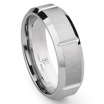 Cobalt XF Chrome 8MM Brush Finish Wedding Band Ring w/ Grooves