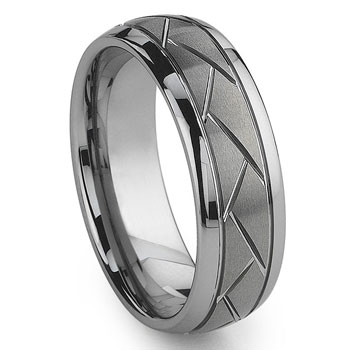 Tungsten Carbide Diamond Cut Groove Newport Wedding Band Ring,triton