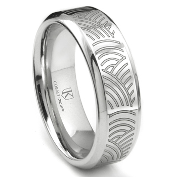 Cobalt XF Chrome Laser Engraved Wedding Band Ring w/ Ripple Designs