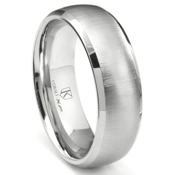 Cobalt XF Chrome 8MM Satin Finish Dome Wedding Band Ring w/ Beveled Edges