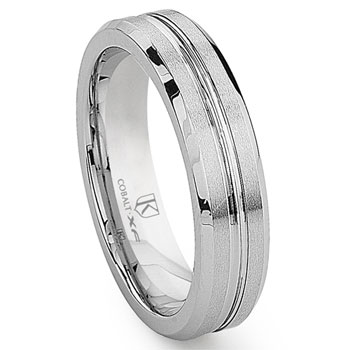 Cobalt XF Chrome 6MM Ribbed Wedding Band Ring w/ Beveled Edges