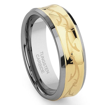Concave Gold Vine Tungsten Carbide Celtic Irish Wedding Band Ring