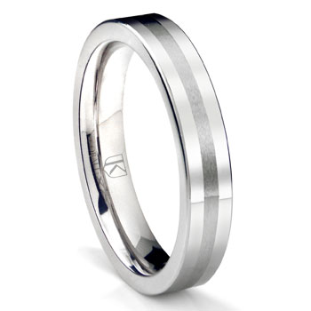 Cobalt XF Chrome 4MM Flat Wedding Band Ring w/ Brush Center