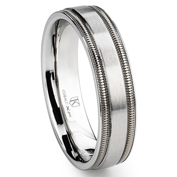Cobalt XF Chrome 6MM Brush Finish Milgrain Wedding Band Ring